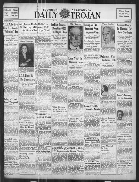Daily Trojan, Vol. 27, No. 79, February 17, 1936