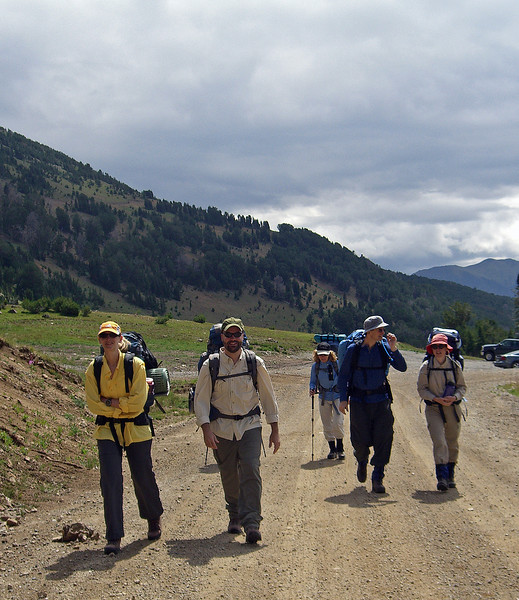 pictured here (left to right) at Daisy Pass, the start of our trek: Carol Hemmerly, JR Kunkle, Teresa Skye, David and Hannah Fussner