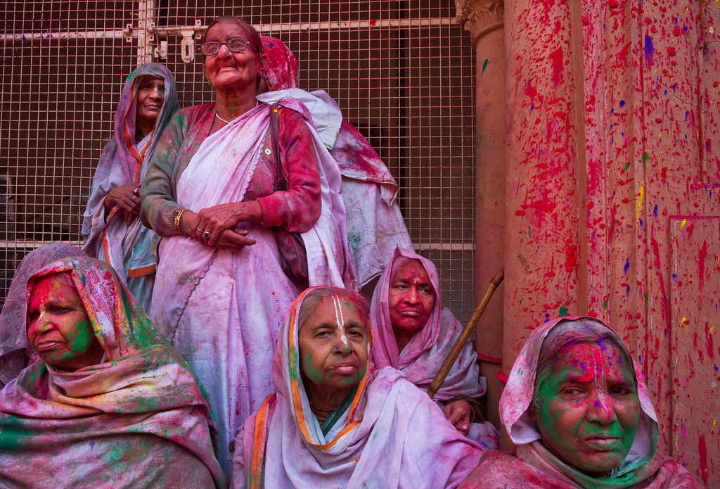 . Hindu widows, who were once forbidden to participate, rest covered in colored powder during the religious arrival of spring festival called Holi at the Gopinath temple in Vrindavan, 180 kilometers (112 miles) south-east of New Delhi, India, Thursday, March 9, 2017. Up to just a few years ago the festival was forbidden for Hindu widows. Like hundreds of thousands of observant Hindu women, they would have been expected to live out their days in quiet worship, dressed only in white, with their very presence being considered inauspicious for all religious festivities. (AP Photo /Manish Swarup)