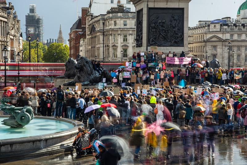 Fridays For The Future demonstration in Trafalgar Square