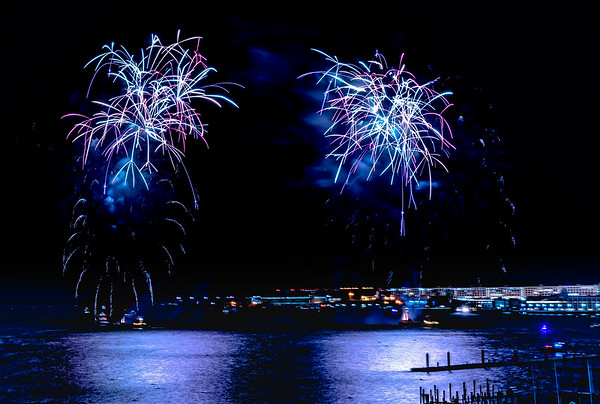 New Year's Eve Midnight Fireworks over Boston Harbor