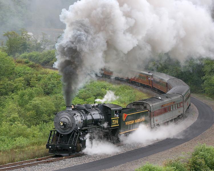 WMSR on Rainy Helmstetters Curve Western Maryland Scenic Railroad