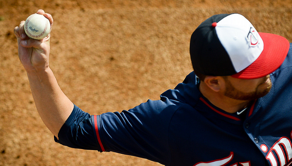 . Twins pitcher Ricky Nolasco lets fly with a two-seamer. (Pioneer Press: Ben Garvin)