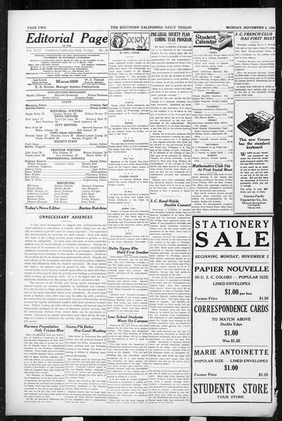 Daily Trojan, Vol. 17, No. 34, November 02, 1925