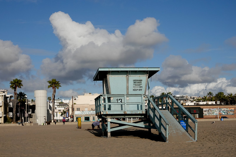 A lifeguard station in Hermosa Beach on a cloudy day