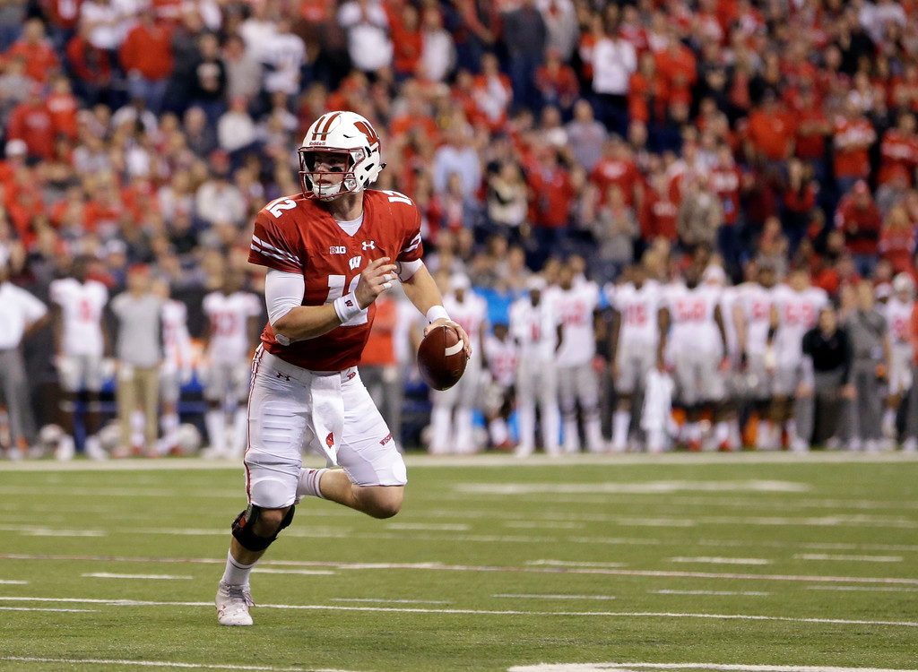 . Wisconsin quarterback Alex Hornibrook looks to pass during the second half of the Big Ten championship NCAA college football game against Ohio State, Saturday, Dec. 2, 2017, in Indianapolis. (AP Photo/AJ Mast)
