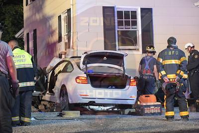 Roslyn F.D. MVA w/ Car Into Building   Mineola Ave. 6/18/18