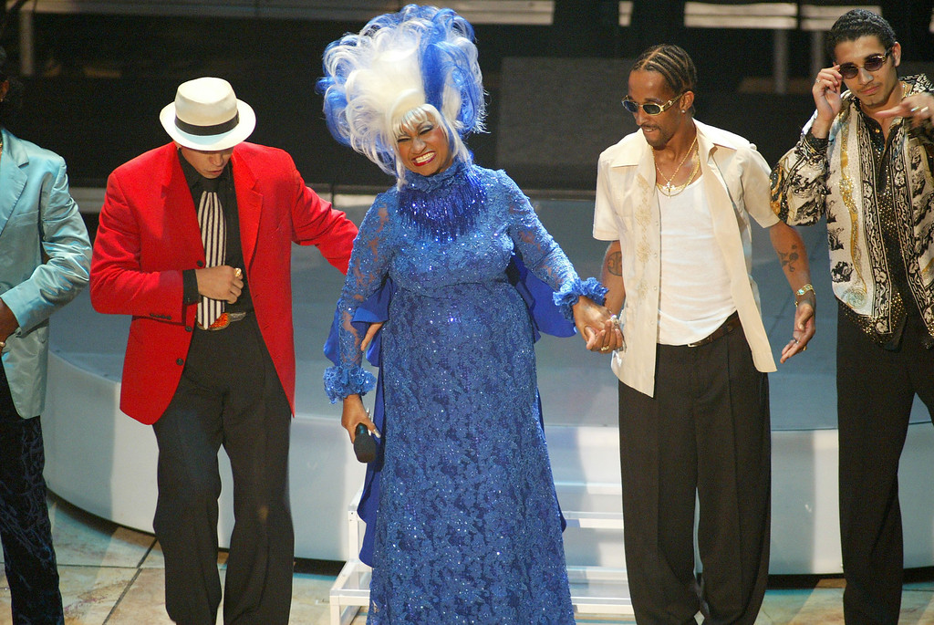 ". Celia Cruz performs ""La Negra Tiene Tumbao\"" at the 3rd Annual Latin Grammy Awards at the Kodak Theater in Hollywood, Ca., September 18, 2002. Photo by Frank Micelotta/ImageDirect."