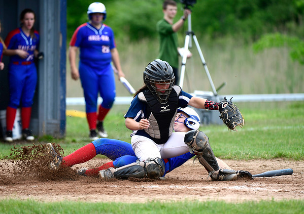 5/30/2019 Mike Orazzi | Staff St. Paul's Katrina Roy (20) and Hale Ray's Skyler Rapuano (3) during a 6-4 St. Paul win in a Class S Second Round softball game in Bristol Thursday.