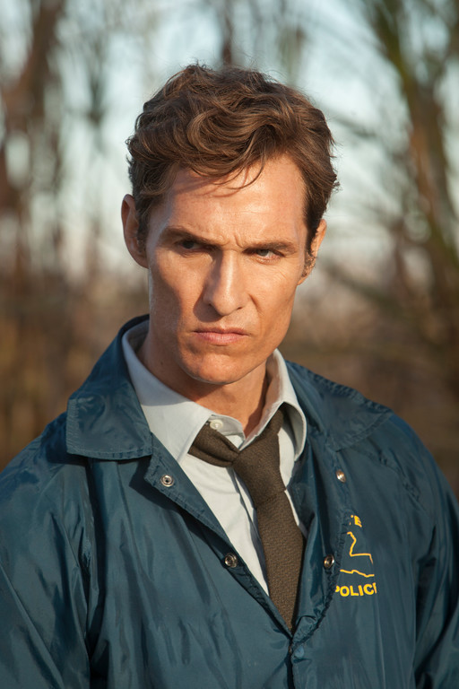 """. This image released by HBO shows Matthew McConaughey as Rustin Cohle in a scene from the series \""""True Detective.\""""  McConaughey was nominated for a Golden Globe for best actor in a TV movie or mini-series for his role on Thursday, Dec. 11, 2014. The 72nd annual Golden Globe awards will air on NBC on Sunday, Jan. 11. (AP Photo/HBO, Jim Bridges)"""