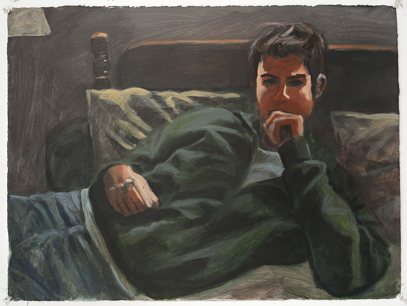 John reclining 1; acrylic on paper, 22 x 30 in, 2008