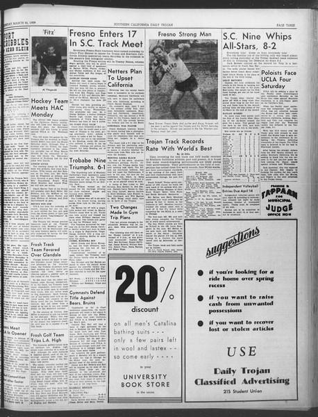 Daily Trojan, Vol. 30, No. 109, March 30, 1939