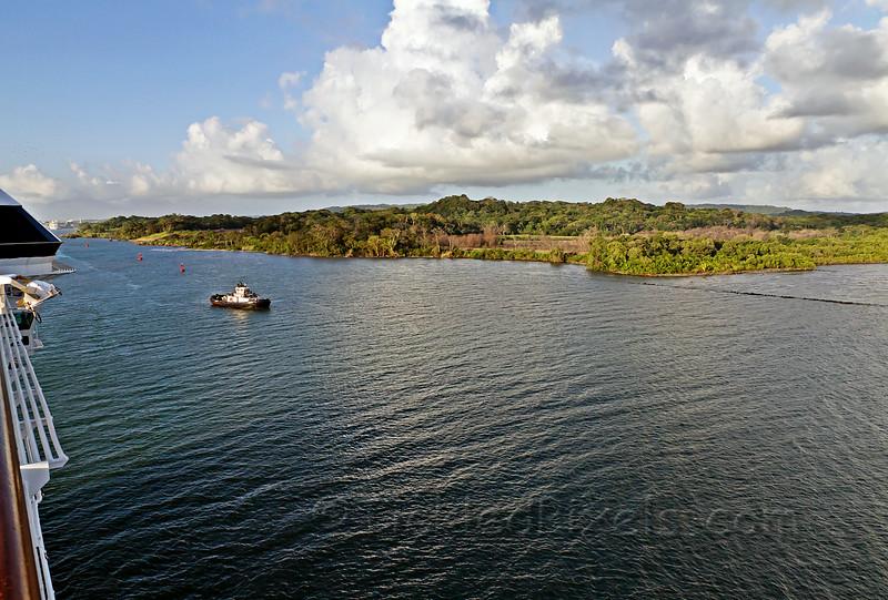 Approaching the Panama Canal's Gatun Locks