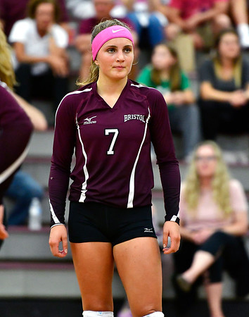10/1/2019 Mike Orazzi   StaffrBristol Central's Peyton Greger (7) during Tuesday's volleyball match with Platt at BC.