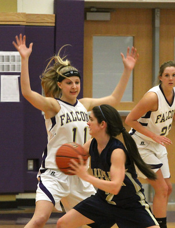 Lady Falcon Basketball Var. lost to Father McCarrick, Feb 2, 2012, 48-40 at MTHS Gym