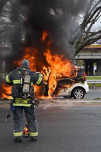 Seaford F.D.  Car Fire W/B Sunrise Highway @ Jackson Avenue 4-24-20