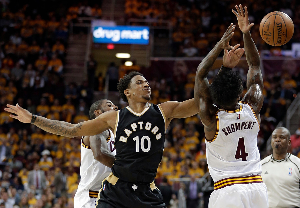 . Cleveland Cavaliers\' Iman Shumpert (4) fouls Toronto Raptors\' DeMar DeRozan (10) and knocks the ball away during the first half in Game 2 of a second-round NBA basketball playoff series, Wednesday, May 3, 2017, in Cleveland. (AP Photo/Tony Dejak)