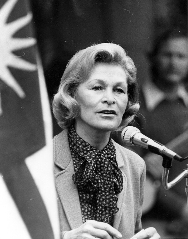 . Dorothy DeBolt speaks at the United Nations observance on Oct. 24, 1981. (Robert Stinnett/Bay Area News Group Archives)