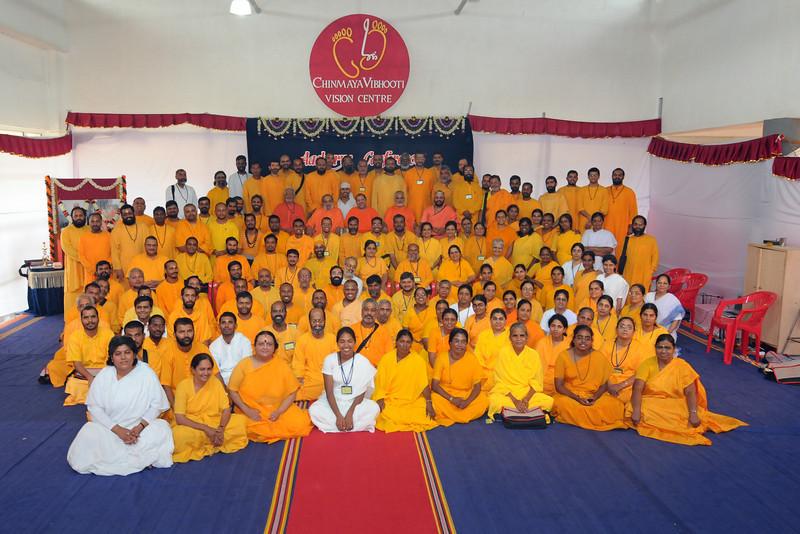 Group picture of the participantsat Chinmaya Mission's Aacharya Conference, July 2008 held at Chinmaya Vibhooti Vision Centre, Kolwan (near Lonavala/Pune), Maharashtra, India.