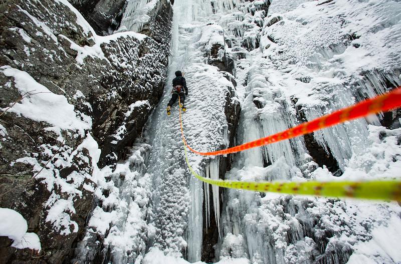 Stephane Lemyre Ice climbing les Diablerettes WI 4, Shawbridge, Prevost, Quebec.