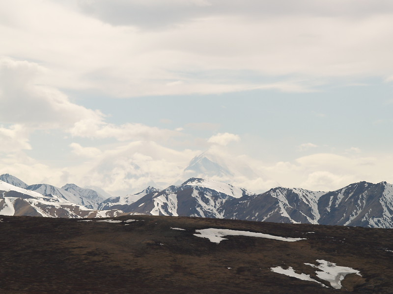 """Mt. McKinley, Denali, """"The Great One"""" in the clouds, May 2007."""