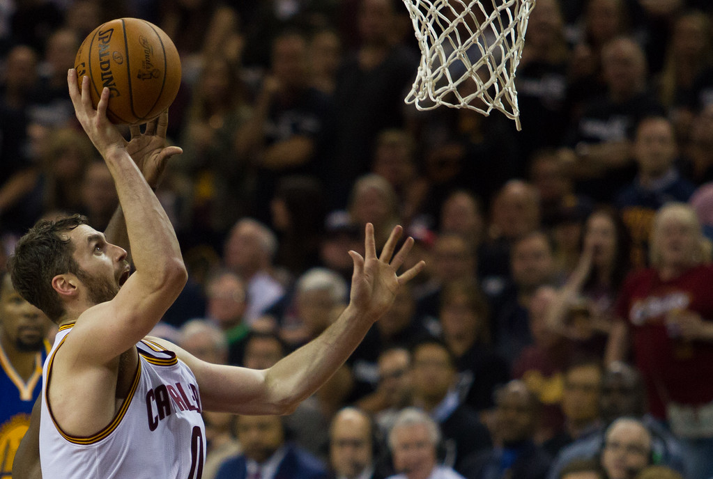 . Kevin Love of the Cleveland Cavaliers goes up for a layup during game 4 of the NBA Finals against the Golden State Warriors at the Quicken Loans Arena on June 10, 2017.  The Cavs defeated the Warriors 137-116.