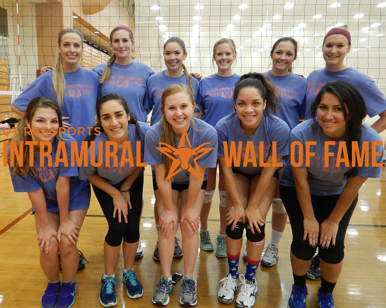 VOLLEYBALL Women's B Runner Up  Texas Sweethearts  R1: Candace Pope, Natalie Abouk, Kelly O'Connor, Farrah Oxley, Mayela Barreda R2: Allison Stephens, Jessica Hall, Christina Mier, Haley Meadows, Katelyn Knippa, Kendall Kovar Not Pictured: Jennifer Wildbergh