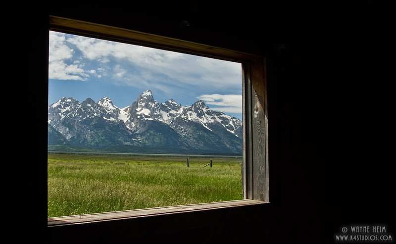 Window on the Tetons. Photography by Wayne Heim