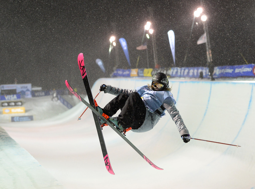. COPPER MOUNTAIN, CO. DECEMBER 20: Brita Sigourney is in action during the ski halfpipe final U.S. Snowboarding Grand Prix. Copper Mountain, Colorado. December 20. 2013. (Photo by Hyoung Chang/The Denver Post)