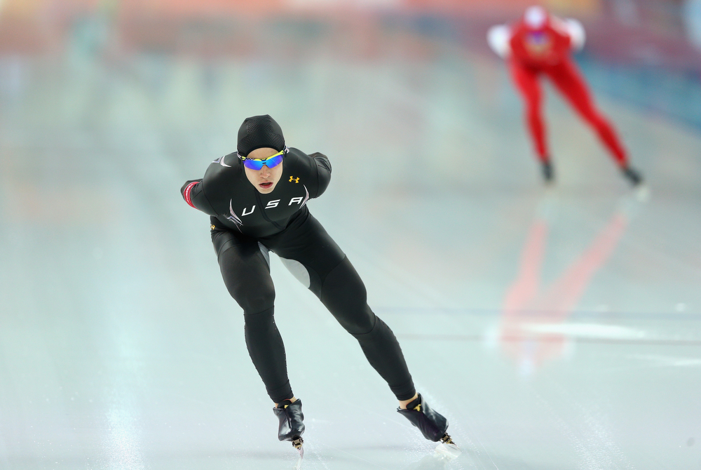 . Patrick Meek (L) of the United States competes during the Men\'s 5000m Speed Skating event during day 1 of the Sochi 2014 Winter Olympics at Adler Arena Skating Center on February 8, 2014 in Sochi, Russia.  (Photo by Paul Gilham/Getty Images)