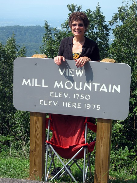 In 1990, the sign was made of wood and the grass was level with the pavement.  By 2010, the sign had been replaced with space-age polymers mounted on higher posts, and the soil at the base had eroded.  This meant that Hope's head would be blocked by the sign, so she stood on a camping chair Jordan had in his car.