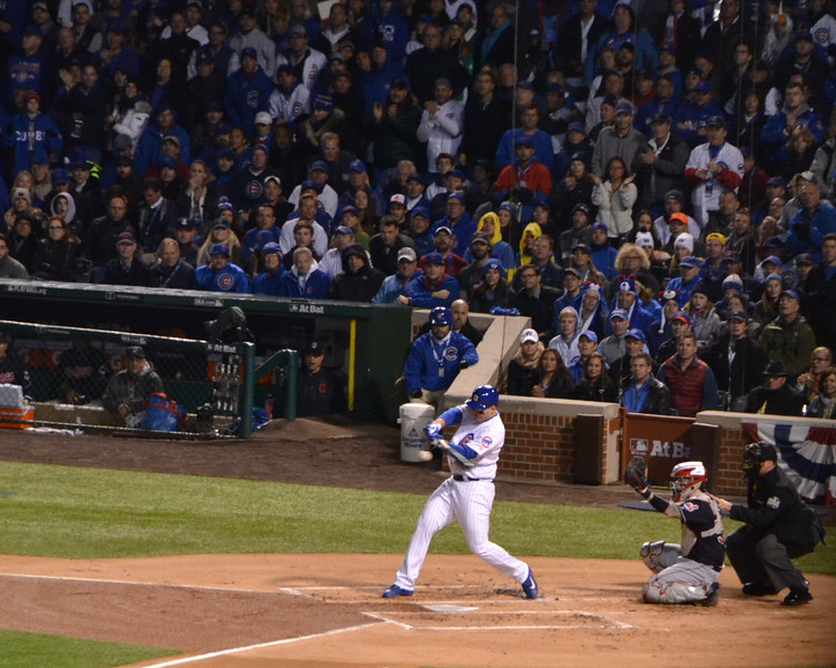 Cubs first baseman Anthony Rizzo takes one back up the middle.