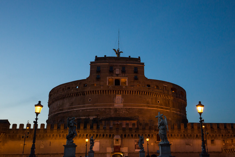 The Castel Sant'Angelo, also known as Mausoleum of Hadrian (c. 139 AD).