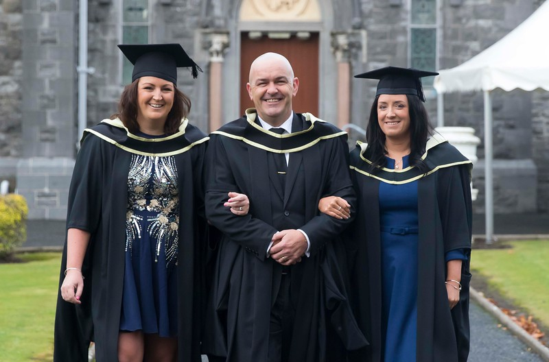 29/10/2015. Waterford Institute of Technology Conferring. Pictured are Sarah Collins, Waterford, Chris Dawkins, Campile,  Co. Wexford and Michelle Gleeson, Dungarvan who graduated Master of Business. Picture: Patrick Browne.