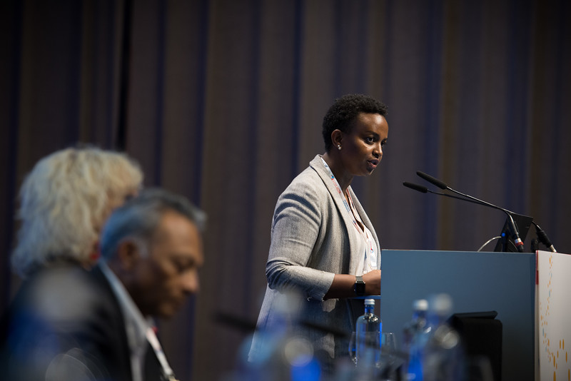 22nd International AIDS Conference (AIDS 2018) Amsterdam, Netherlands   Copyright: Marcus Rose/IAS  Photo shows: TB 2018: Bridging the TB and HIV Communities. Opening addresses: Jeanine Condo, Rwanda Biomedical Center, Rwanda.