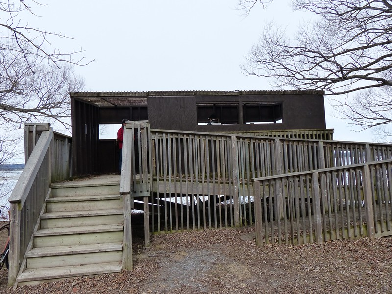 This viewing shelter is located at Calf Pasture and faces the inner bay to the north-east and east of Presqu'ile. Many ducks were seen to the east of this shelter.