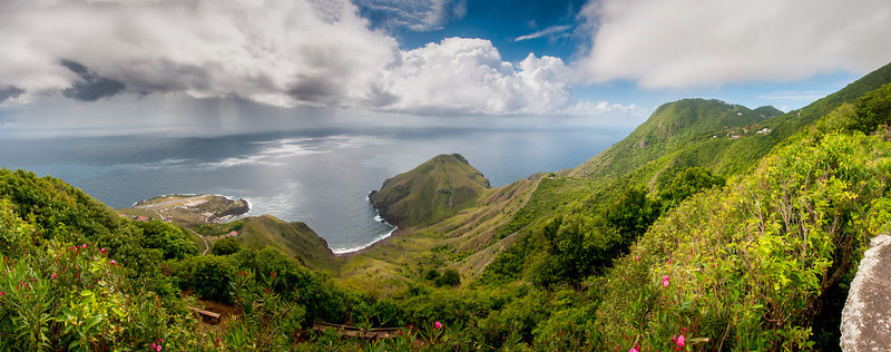 Panorama of mountainside in the island of Saba