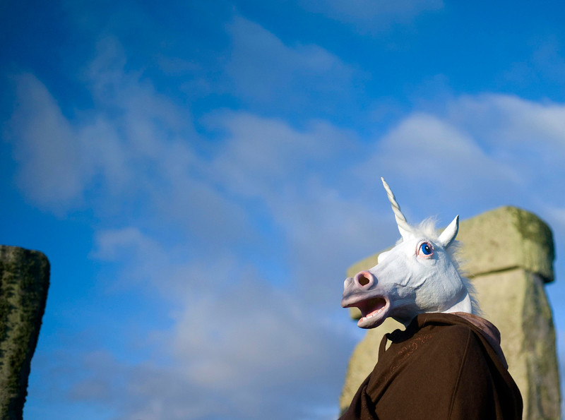 . A reveller dressed as a unicorn celebrates the sunrise during the winter solstice at Stonehenge on Salisbury plain in southern England December 21, 2012. The winter solstice is the shortest day of the year, and the longest night of the year. REUTERS/Kieran Doherty