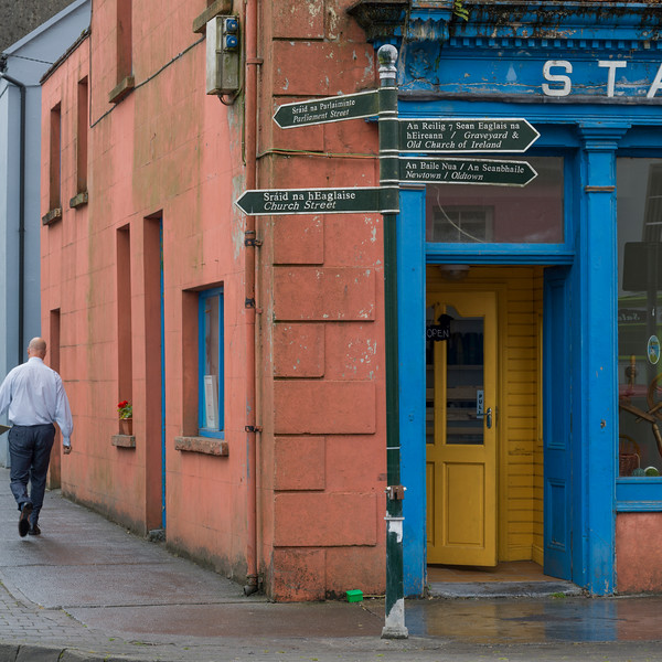 Man walking on the street, Ennistimon, County Clare, Ireland