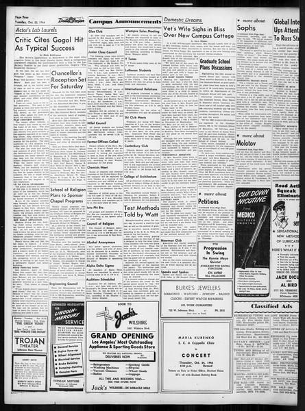 Daily Trojan, Vol. 38, No. 27, October 22, 1946