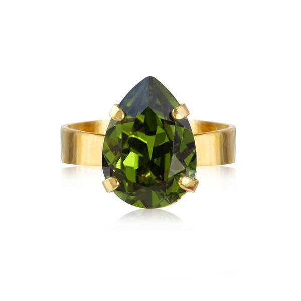 Mini Drop Ring / Olivine Gold