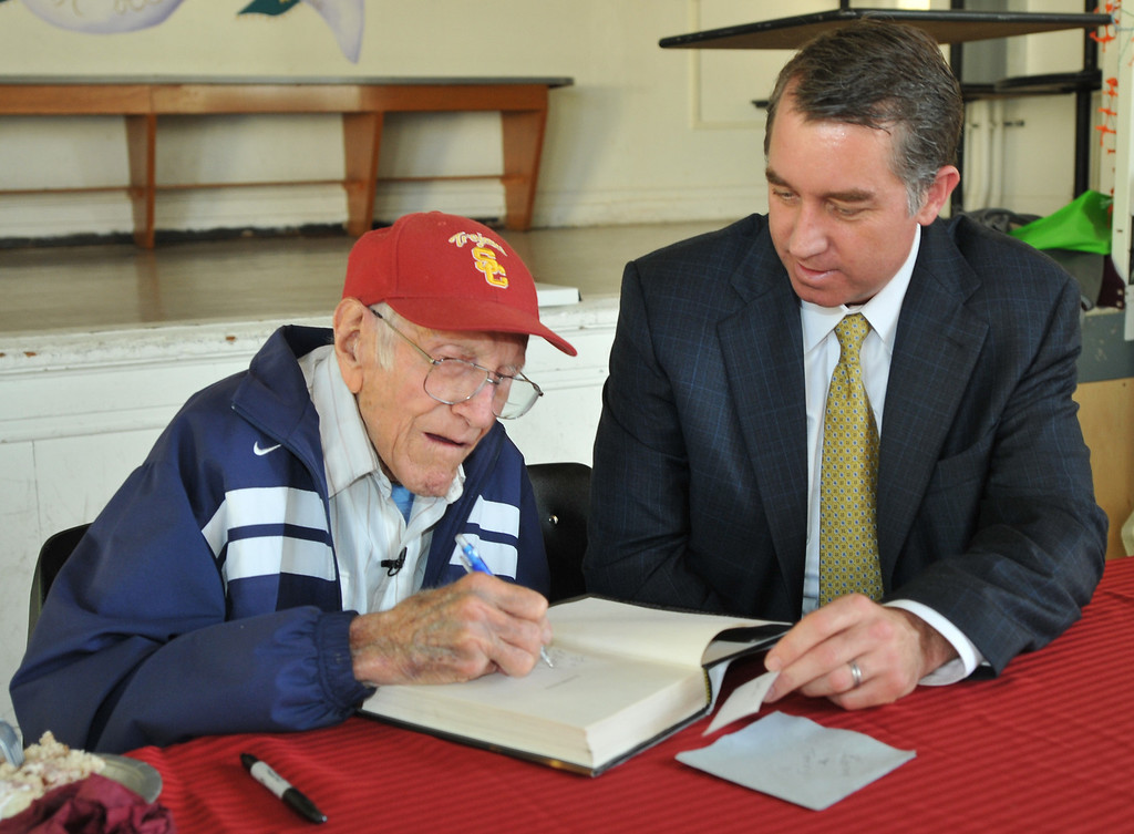 . Torrance---3/31/11---Daily Breeze Photo:  Robert Casillas ---  Torrance legend Louis Zamperini paid a visit to his alma mater Torrance High to visit with alumni and meet students.