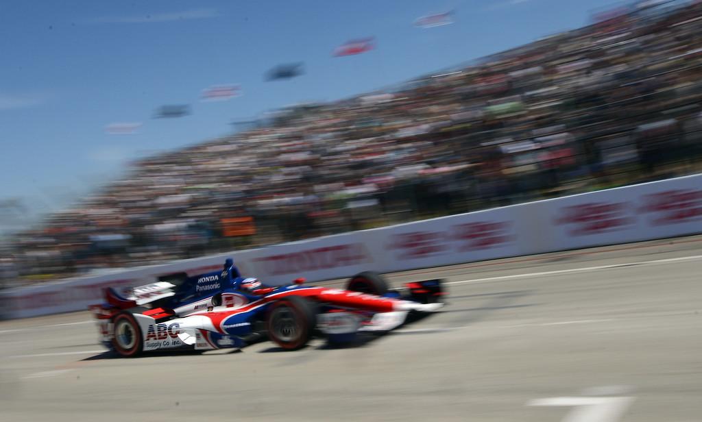 . Jack Hawksworth streaks down Shoreline Drive Sunday. Scott Dixon (9) wins the Toyota Grand Prix of Long Beach Sunday April 19, 2015.  (Will Lester/Staff Photographer)