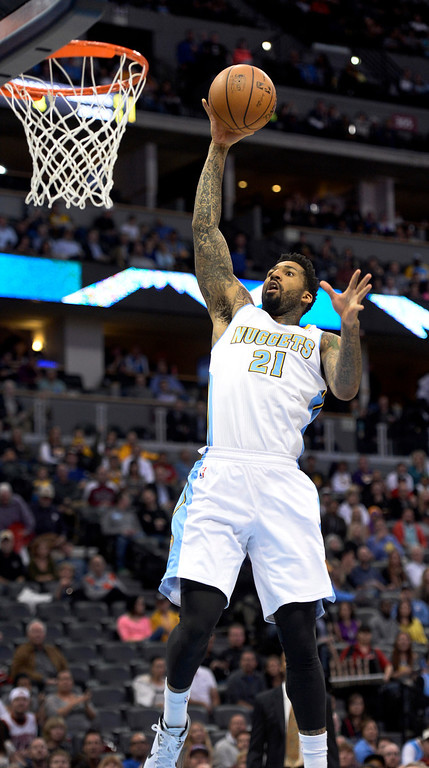 . DENVER, CO - NOVEMBER 13: Denver Nuggets small forward Wilson Chandler (21) goes up for a shot against the Los Angeles Lakers during the first quarter November 13, 2013 at Pepsi Center. Chandler missed the basket. (Photo by John Leyba/The Denver Post)