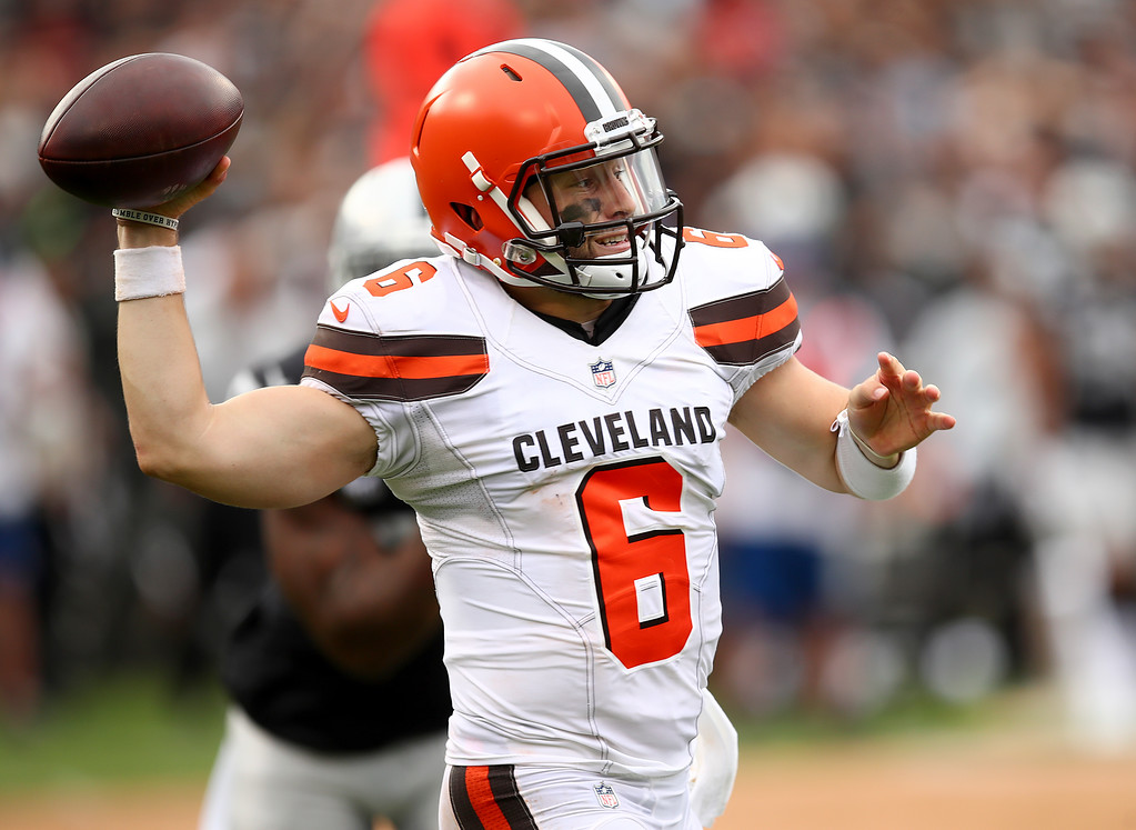 . Cleveland Browns quarterback Baker Mayfield (6) passes against the Oakland Raiders during the second half of an NFL football game in Oakland, Calif., Sunday, Sept. 30, 2018. (AP Photo/Ben Margot)