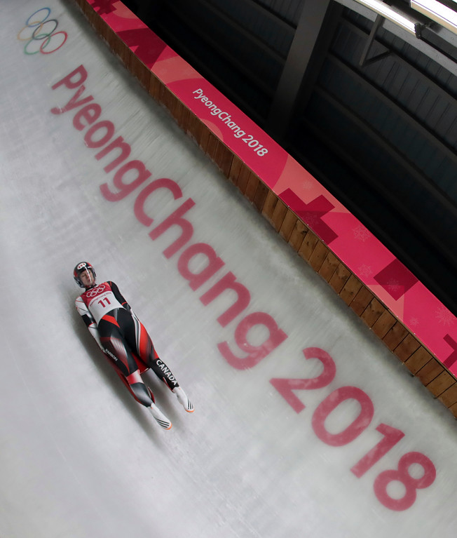. Alex Gough of Canada competes in her second run during the women\'s luge competition at the 2018 Winter Olympics in Pyeongchang, South Korea, Monday, Feb. 12, 2018. (AP Photo/Michael Sohn)