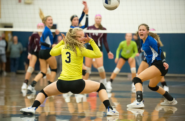 10/08/19 Wesley Bunnell | StaffrrBristol Eastern girls volleyball hosted Bristol Central on Tuesday night. BE's Rebecca Bender (3) looks back to watch the ball go out of bounds.