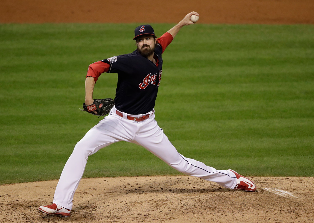 . Cleveland Indians relief pitcher Andrew Miller throws during the fifth inning of Game 7 of the Major League Baseball World Series against the Chicago Cubs Wednesday, Nov. 2, 2016, in Cleveland. (AP Photo/Gene J. Puskar)