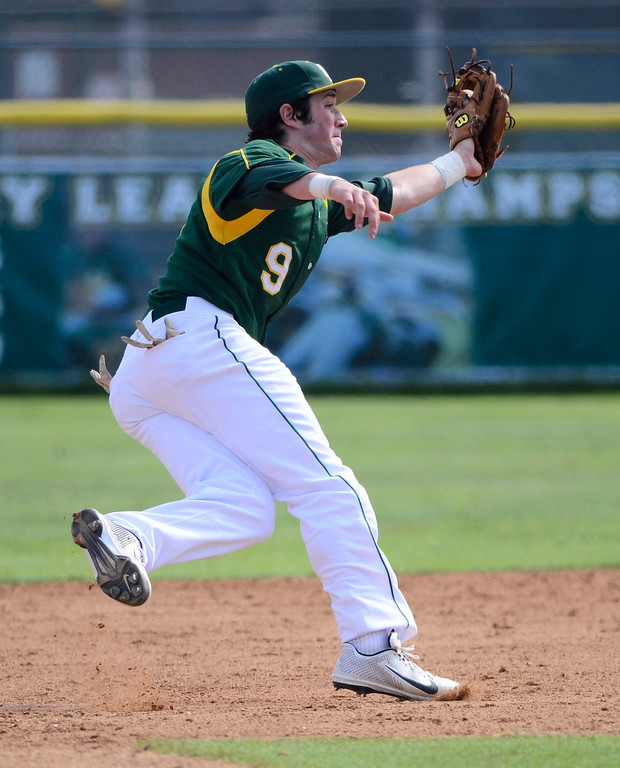 . Mira Costa 2B 9 Mateo Nieto takes a throw on a steal attempt. Mira Costa defeated Westchester 2-1 at home in boy\'s baseball.  Photo by Brad Graverson 3-26-13