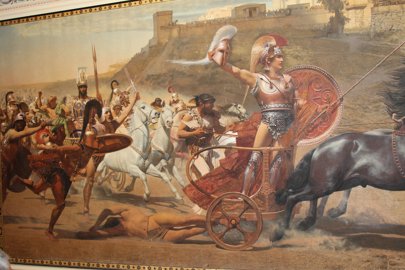 Murals inside the Achilleion Palace. We learned that the artist who painted this mural was criticized for flaws in his work and later committed suicide.